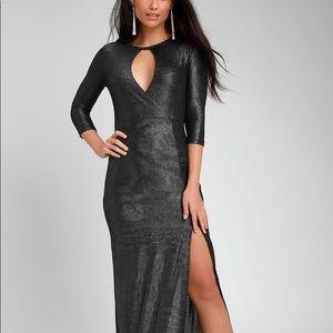 LULUS black & silver maxi gala dress